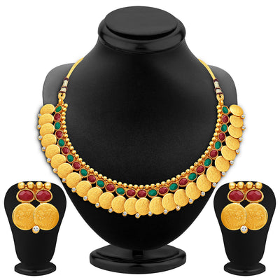 Sukkhi Glorious Gold Plated Temple Jewellery Necklace Set