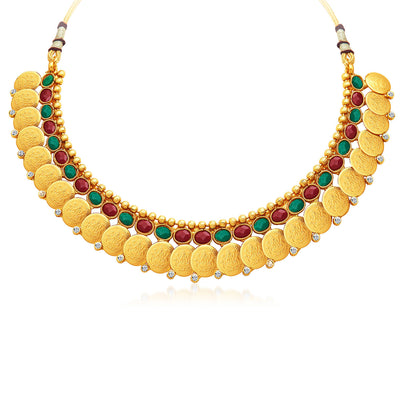 Sukkhi Glorious Gold Plated Temple Jewellery Necklace Set-3