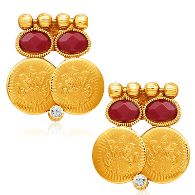 Sukkhi Glorious Gold Plated Temple Jewellery Necklace Set-5