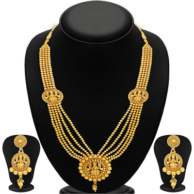 Sukkhi Attractive Five Strings Temple Jewellery Gold Plated Necklace Set