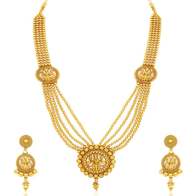 Sukkhi Attractive Five Strings Temple Jewellery Gold Plated Necklace Set-1