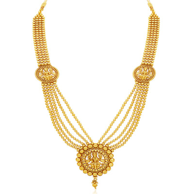 Sukkhi Attractive Five Strings Temple Jewellery Gold Plated Necklace Set-3