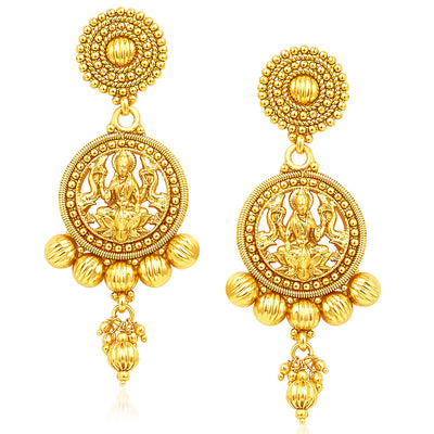 Sukkhi Attractive Five Strings Temple Jewellery Gold Plated Necklace Set-5