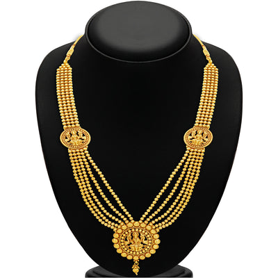 Sukkhi Attractive Five Strings Temple Jewellery Gold Plated Necklace Set-2