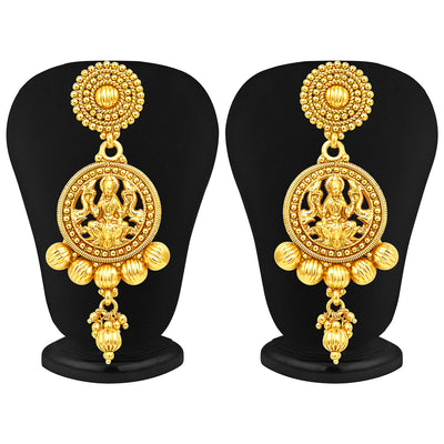 Sukkhi Attractive Five Strings Temple Jewellery Gold Plated Necklace Set-4