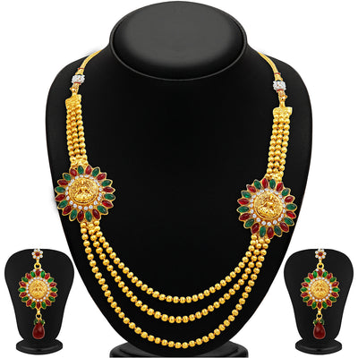Sukkhi Classy Three Strings Temple Jewellery Gold Plated Necklace Set