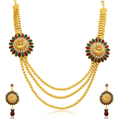 Sukkhi Classy Three Strings Temple Jewellery Gold Plated Necklace Set-1