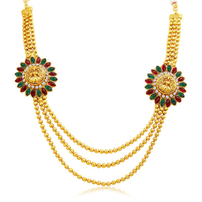 Sukkhi Classy Three Strings Temple Jewellery Gold Plated Necklace Set-3
