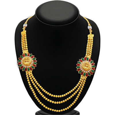 Sukkhi Classy Three Strings Temple Jewellery Gold Plated Necklace Set-2