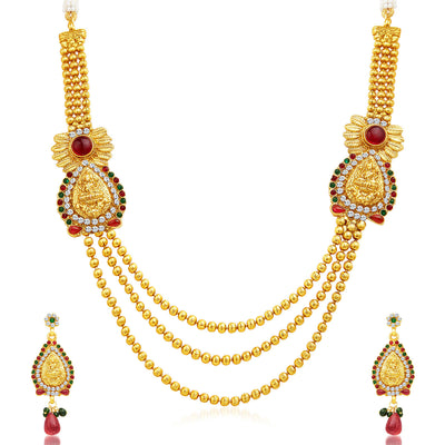 Sukkhi Incredible Three Strings Temple Jewellery Gold Plated Necklace Set-1