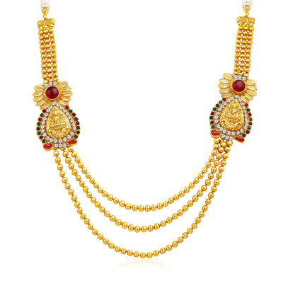 Sukkhi Incredible Three Strings Temple Jewellery Gold Plated Necklace Set-3