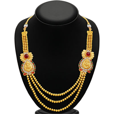 Sukkhi Incredible Three Strings Temple Jewellery Gold Plated Necklace Set-2