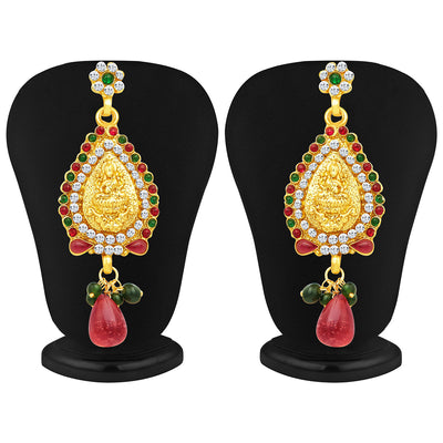 Sukkhi Incredible Three Strings Temple Jewellery Gold Plated Necklace Set-4