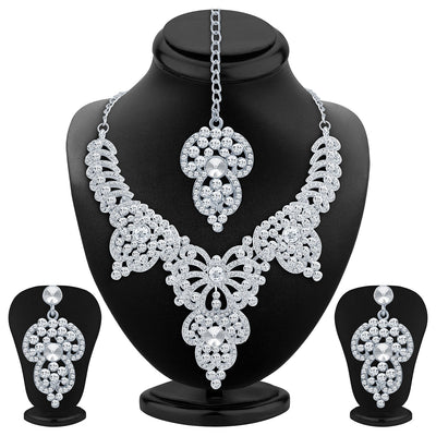 Sukkhi Marvellous Rhodium Plated AD Necklace Set