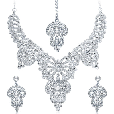 Sukkhi Marvellous Rhodium Plated AD Necklace Set-1