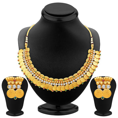 Sukkhi Pleasing Gold Plated Temple Jewellery Necklace Set