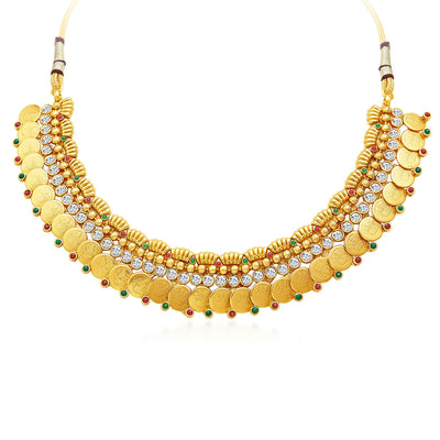 Sukkhi Pleasing Gold Plated Temple Jewellery Necklace Set-3