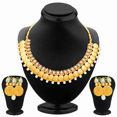 Sukkhi Delightful Gold Plated Temple Jewellery Necklace Set