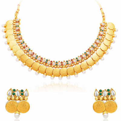 Sukkhi Delightful Gold Plated Temple Jewellery Necklace Set-1
