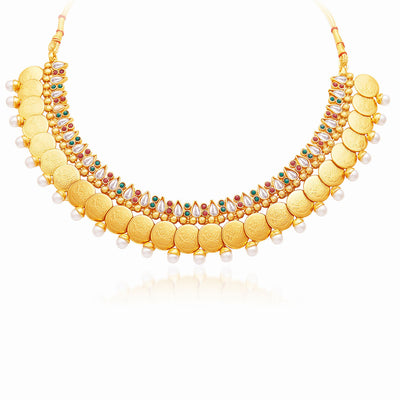 Sukkhi Delightful Gold Plated Temple Jewellery Necklace Set-3