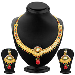Sukkhi Artistically Gold Plated Temple Jewellery Necklace Set