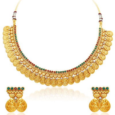 Sukkhi Sublime Gold Plated Temple Jewellery Necklace Set-1