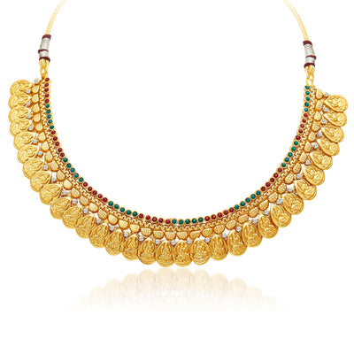 Sukkhi Sublime Gold Plated Temple Jewellery Necklace Set-3