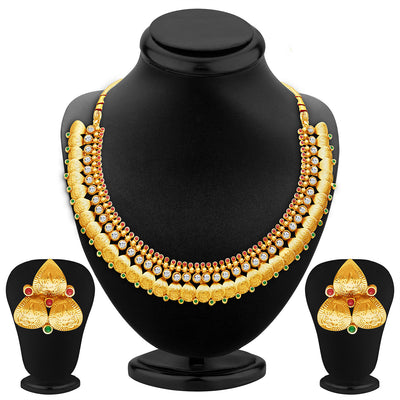 Sukkhi Fascinating Gold Plated Temple Jewellery Necklace Set