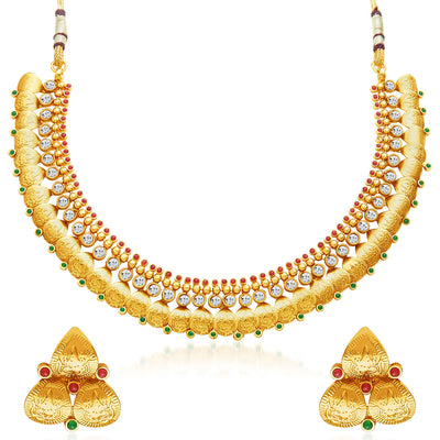 Sukkhi Fascinating Gold Plated Temple Jewellery Necklace Set-1