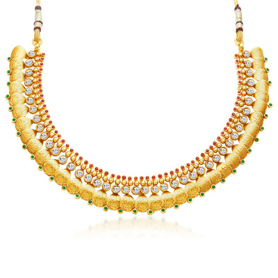 Sukkhi Fascinating Gold Plated Temple Jewellery Necklace Set-3