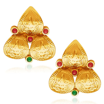 Sukkhi Fascinating Gold Plated Temple Jewellery Necklace Set-5