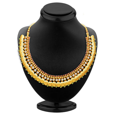 Sukkhi Fascinating Gold Plated Temple Jewellery Necklace Set-2