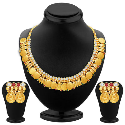 Sukkhi Modern Gold Plated Temple Jewellery Necklace Set