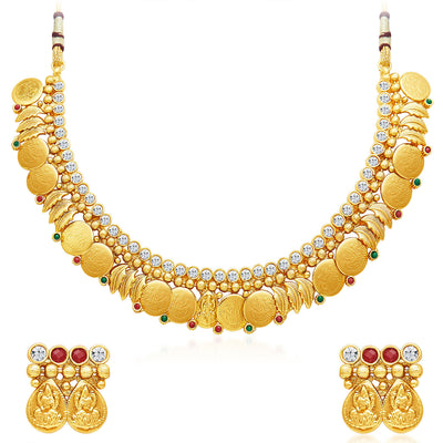 Sukkhi Modern Gold Plated Temple Jewellery Necklace Set-1