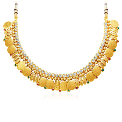 Sukkhi Modern Gold Plated Temple Jewellery Necklace Set-3