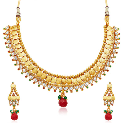 Sukkhi Marvellous Gold Plated Temple Jewellery Necklace Set-1