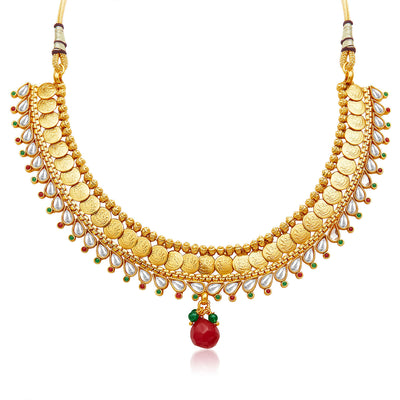Sukkhi Marvellous Gold Plated Temple Jewellery Necklace Set-3