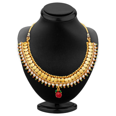 Sukkhi Marvellous Gold Plated Temple Jewellery Necklace Set-2
