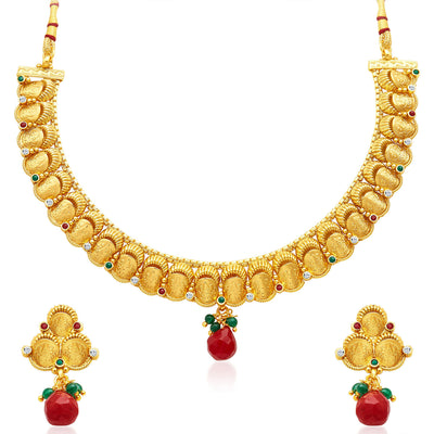 Sukkhi Stunning Gold Plated Temple Jewellery Necklace Set-1
