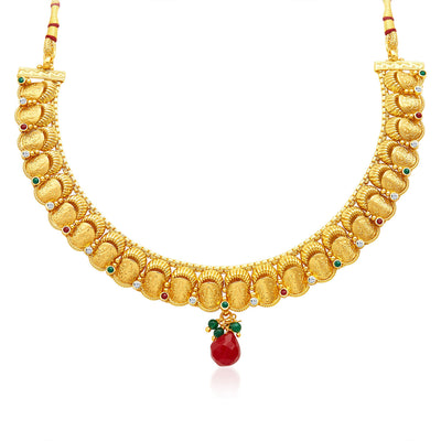 Sukkhi Stunning Gold Plated Temple Jewellery Necklace Set-3