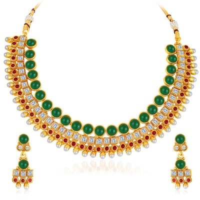 Sukkhi Dazzling Gold Plated AD Necklace Set-1