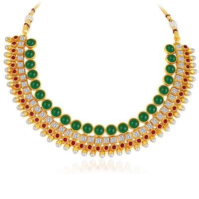 Sukkhi Dazzling Gold Plated AD Necklace Set-3