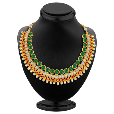 Sukkhi Dazzling Gold Plated AD Necklace Set-2