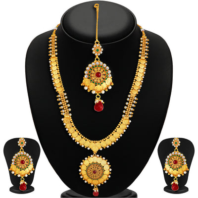 Sukkhi -  Kritika Kamra Traditional Gold Plated Temple Coin Necklace Set-1