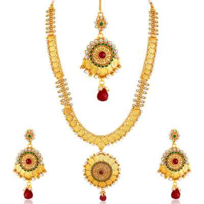 Sukkhi -  Kritika Kamra Traditional Gold Plated Temple Coin Necklace Set-2