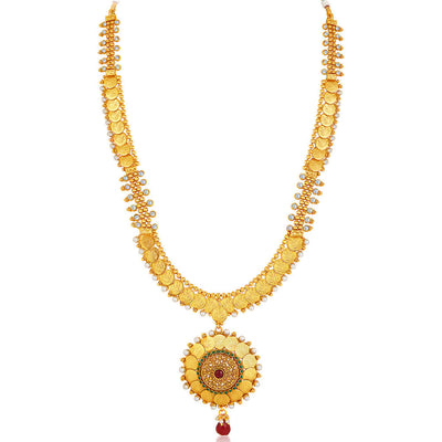 Sukkhi -  Kritika Kamra Traditional Gold Plated Temple Coin Necklace Set-4