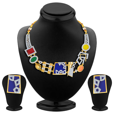 Sukkhi Neon Colour Gold Plated CZ Geometric Necklace Set-4