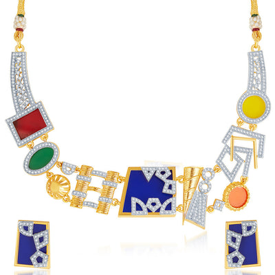 Sukkhi Neon Colour Gold Plated CZ Geometric Necklace Set-5