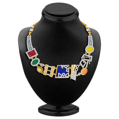 Sukkhi Neon Colour Gold Plated CZ Geometric Necklace Set-6