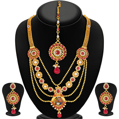 Sukkhi Shimmering Gold Plated 4 Strings Peacock Necklace Set
